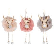 3 Piece Furry Reindeer Pom-Pom Hanging Ornament Set