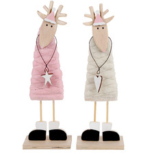 2 Piece Standing Reindeer Wool Ornament Set