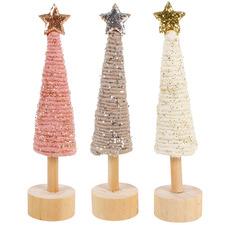 3 Piece Christmas Tree Wool Ornament Set