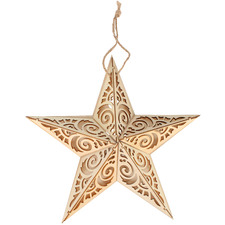 Star Plaque Wooden Hanging Ornament with LED light (Set of 6)