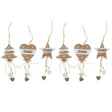 6 Piece Christmas Tree Star & Heart Hanging Ornament Set
