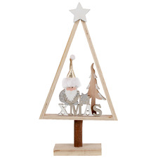 3D Santa Christmas Tree Wooden Ornaments (Set of 2)