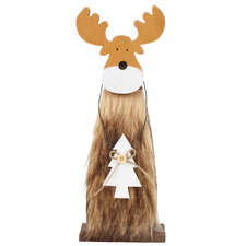 Furry Standing Reindeer Ornaments (Set of 2)