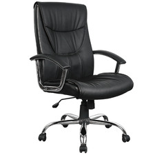 Black Lawrence Faux Leather Executive Office Chair
