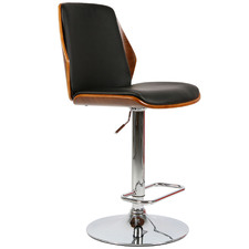Natural & Black Sara Faux Leather Adjustable Barstool