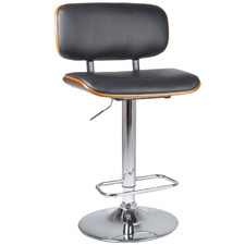 Natural & Black Alessia Faux Leather Adjustable Barstool