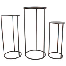 3 Piece Matte Black Ekon Metal Plant Stand Set