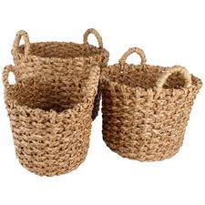 3 Piece Agra Rush Grass Basket Set
