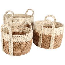 3 Piece Chennai Rush Grass Basket Set