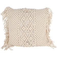 Custa Macramé Fringed Cotton Cushion