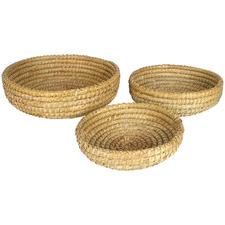 3 Piece Mission Palm Leaf Straw Basket Set