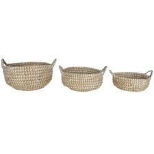3 Piece Round Elliot Kans Grass Basket Set with Handles
