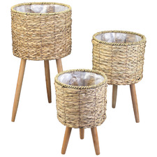 3 Piece Malo Seagrass Pot Plant Stand Set