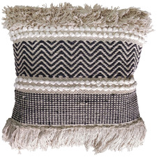 Beige & Black Ziggy Fringed Cotton Cushion