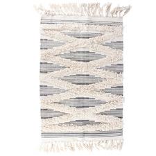 Natural Tribal Cotton-Blend Shag Rug