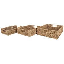 3 Piece Mackay Seagrass Basket Tray Set