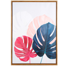 Pastel Monstera Leaf Framed Canvas Wall Art