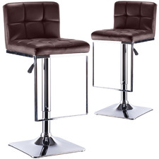 Chocolate Quill Faux Leather Adjustable Barstools (Set of 2)