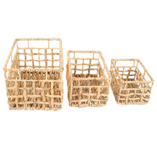 3 Piece Lai Water Hyacinth Basket Set