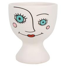 White Lulu Face Pot Planter
