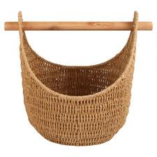 Hazel Rattan Storage Basket with Removable Pole Handle