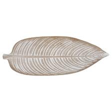 White Washed Ember Leaf 44cm Serving Tray