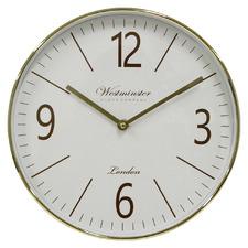 30cm Gold & White Barnet Metal Wall Clock