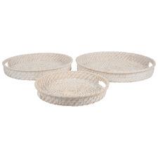3 Piece White Washed Zahara Serving Tray Set