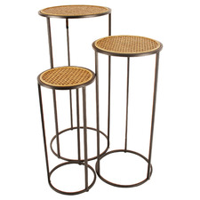 3 Piece Hendrix Round Rattan-Top Side Table Set