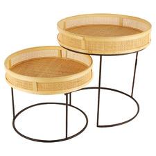 2 Piece Freya Rattan Tray Top Nesting Side Table Set