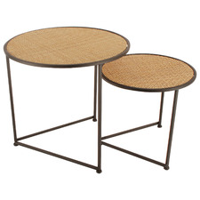 2 Piece Lieo Round Rattan-Top Nesting Side Table Set