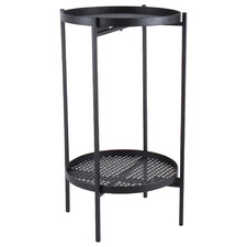 Black Piox 2 Tier Steel Side Table