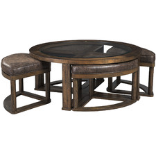 5 Piece Hannery Faux Leather Coffee Table & Stools Set