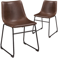 Brown Centiar Faux Leather Dining Chairs (Set of 2)
