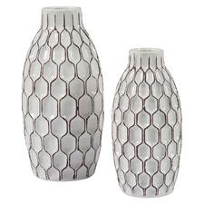 2 Piece White Diane Ceramic Vase Set