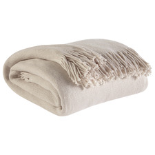 Ivory Fringed Halley Knitted Throw Blanket