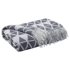 Grey Geometric Halley Knitted Throw Blanket