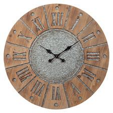 78cm Medium Timber Peyton Wood & Metal Clock
