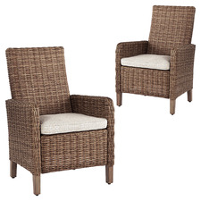 Brown Bayne Outdoor Dining Chairs with Cushions (Set of 2)