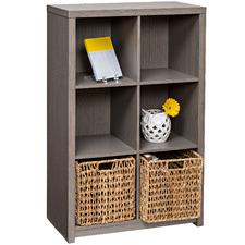 6 Cube Laminated Weathered Teak Display Cabinet