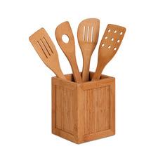 5 Piece Bamboo Utensils & Kitchen Caddy Set