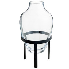 Clear Adorn Glass Vase with Matte Black Stand