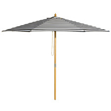 3m Black & White Striped French Riviera Market Umbrella