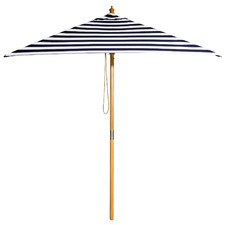 2m Black & White Striped French Riviera Market Umbrella