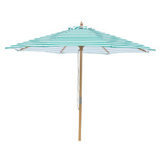 3m Emerald Green & White Stripe Daintree Market Umbrella