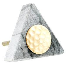 Grey Triangular Hammered Brass Centre Marble Knob