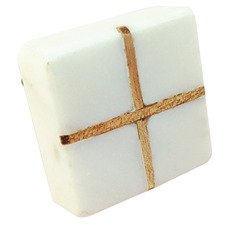 White Square Marble & Wood Intersect Knob