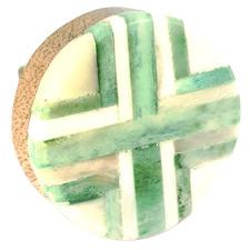 Green & White Round Cross Inlay Knob