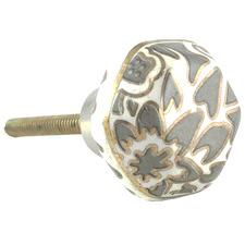 Grey Hexagonal Painted Ceramic Knob
