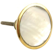 Gold & White Round Shell Glass Knob